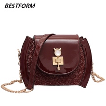 цены Patent Leather Bag For Women Tote Flap Womens Handbags And Purses Vintage Shoulder Bag Women Small Chains Crossbody Purse Clutch