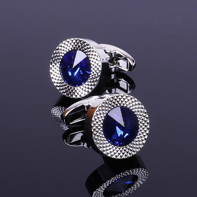 Blue Crystal Cone Cufflinks Men Classic Brand Blue Prismatic Cuff Button Designer High Quality Men's Shirt Taper Cuff Links 1