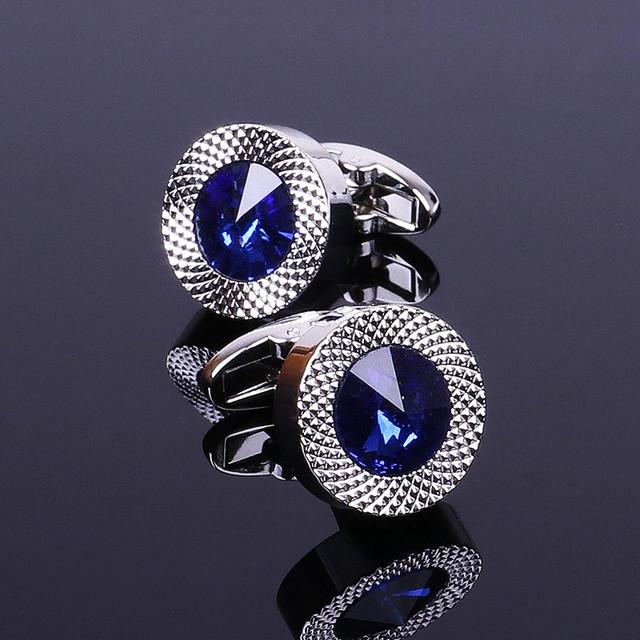 Niebieski kryształ stożek spinki do mankietów mężczyźni klasyczna marka niebieski pryzmatyczny spinka mankietowa projektant wysokiej jakości koszula męska Taper spinki do mankietów tanie i dobre opinie FYLA MODE Ze stopu cynku Tie klipów i spinki do mankietów Moda TRENDY Symulowane perłowej Blue Crystal Cone Cufflinks CF023