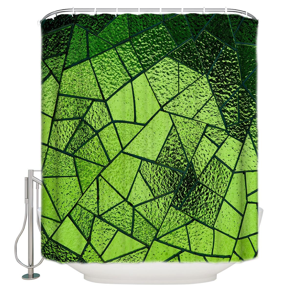 ستارة الحمام WARMTOUR ستارة الحمام الزجاجية الخضراء الهندسة ديكور الحمام مع السنانير