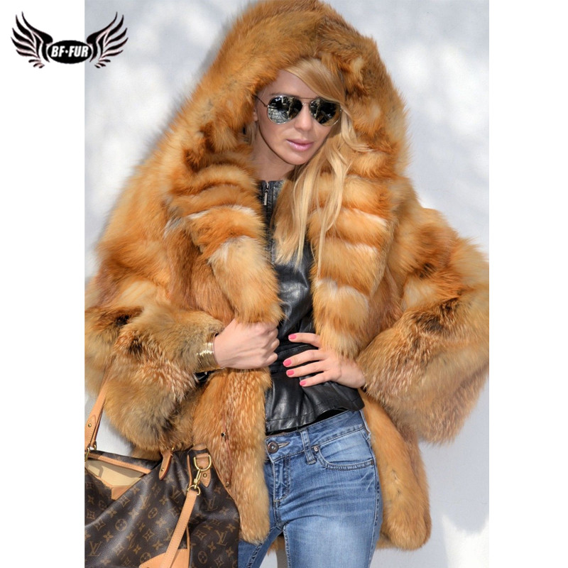 2019 New Genuine Red Fox Fur Coat With Hood Luxury Women Winter Thick Warm Natural Fox Fur Jacket Real Full Pelt Fur Coats Woman