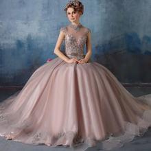 Бальное платье расшитое бисером с кружевной аппликацией длиной