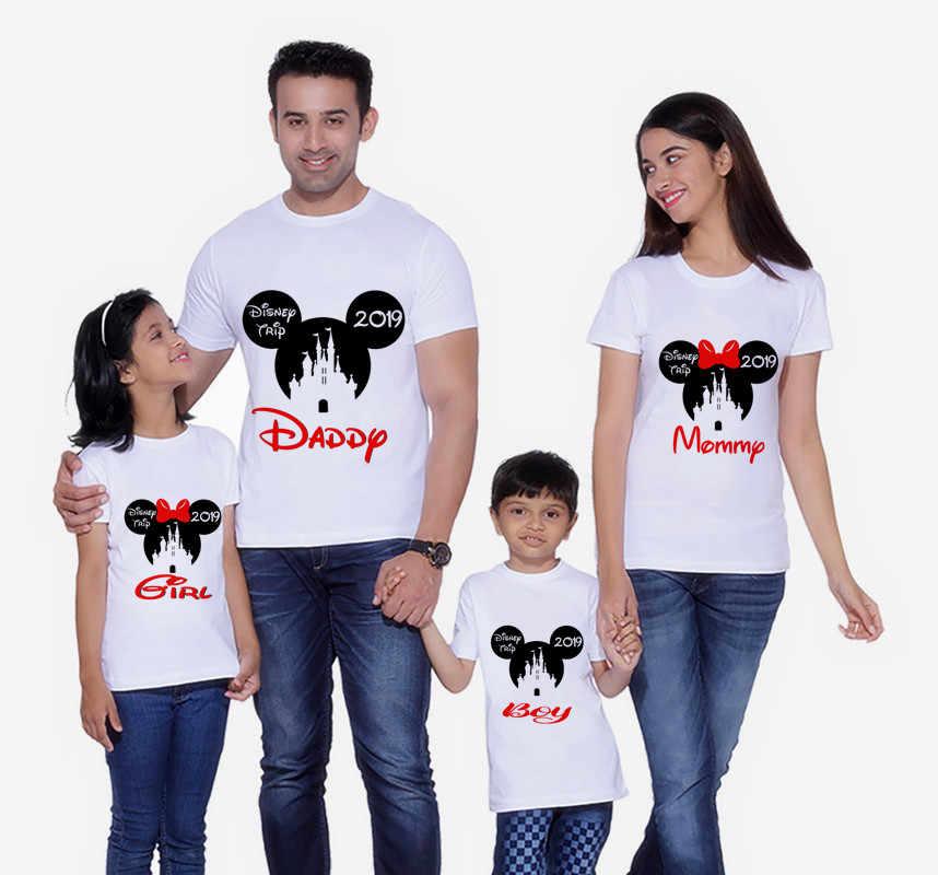 แผ่นหัวสำหรับครอบครัวแม่และลูกสาวเสื้อผ้า Minnie ปราสาทเสื้อยืดเสื้อผ้าเด็กวันเกิดแขนสั้นเสื้อยืด