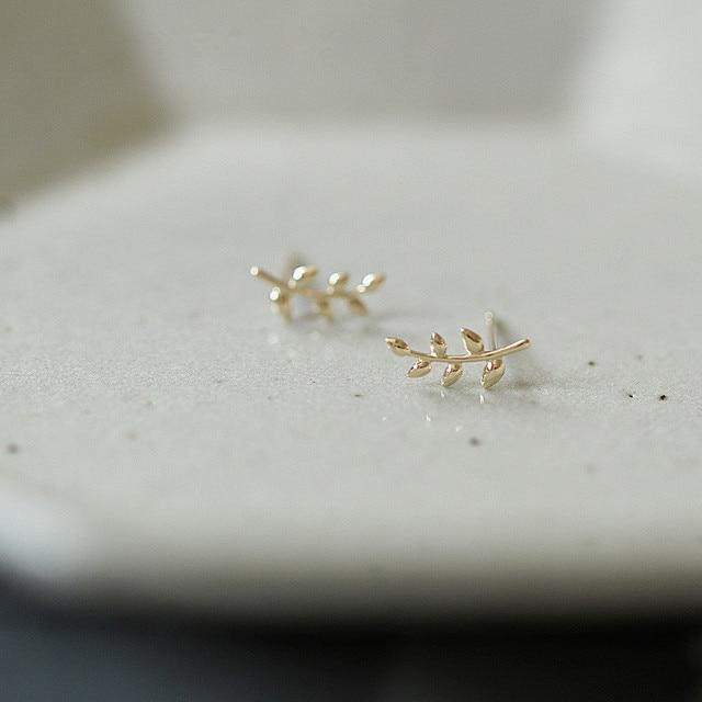 dainty European Style 14k gold or sterling Olive Branch Leaf Earrings  4