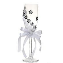 HHO-2Pcs набор свадебных стеклянных креативных серебряных цветов, хрустальных свадебных бокалов для шампанского, бокал для красного вина, свадебные украшения