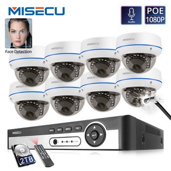 MISECU 4CH 8CH 1080P POE NVR Kit Security Camera H.265CCTV System Indoor Audio Record IP Dome Camera P2P Video Surveillance Set sunell ea 92491 4ch 1080p professional ip camera