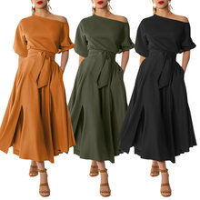 ZANZEA-vestido de fiesta liso de talla grande para mujer, a la moda vestido de verano, largo e informal, con mangas abullonadas, bata con cinturón, 2021