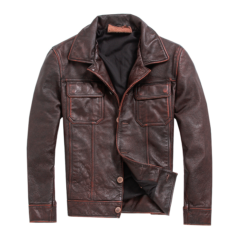 Free Shipping.vintage Brown Mens  Coat,men Cowhide Jackets,genuine Leather Jacket.casual Style Fitness Plus Size Leather