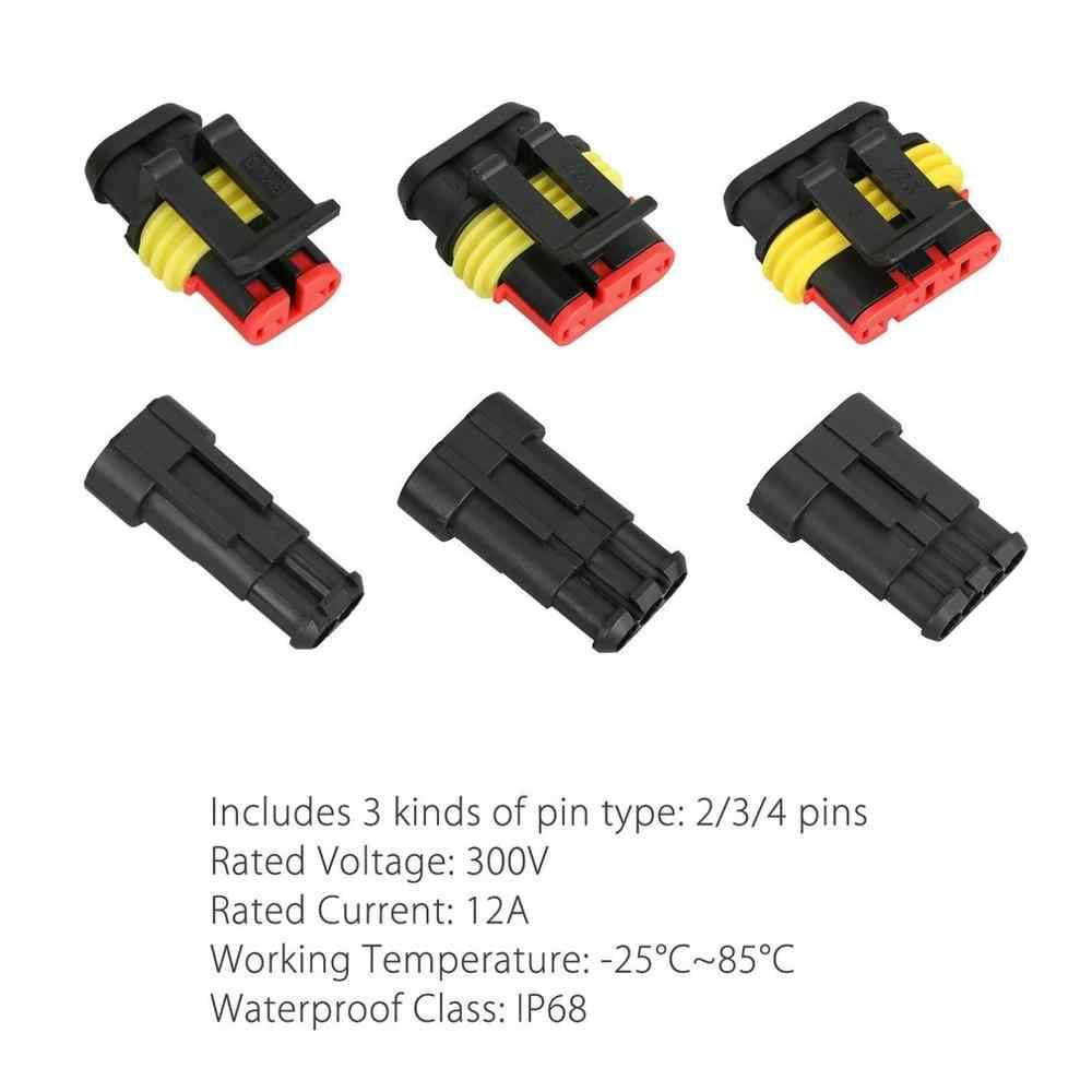 ใหม่ 15 PCS 2/3/4 Pins WAY Car Auto ซีลเชื่อมต่อสายไฟกันน้ำปลั๊ก CONNECTOR