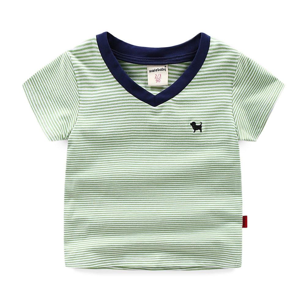 BOY'S Short-sleeved T-shirt 2019 New Style Summer Wear Half Sleeve Korean-style Children Pure Cotton V-neck Stripes T-shirt Fash