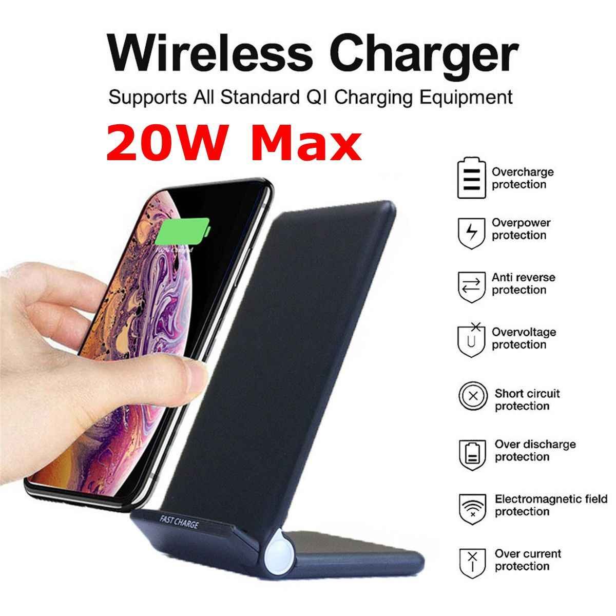 Quic 20W Qi Draadloze Vouwen Verticale Fast Charger Opladen Beugel High Power Docking Stand voor alle Qi-enabled telefoons