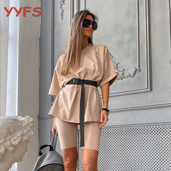 Women Set O Neck Loose Short Sleeve Top Shirt+Biker Shorts set Summer 2020 Casual Workout Two Piece Sets White Outfit Khaki Suit