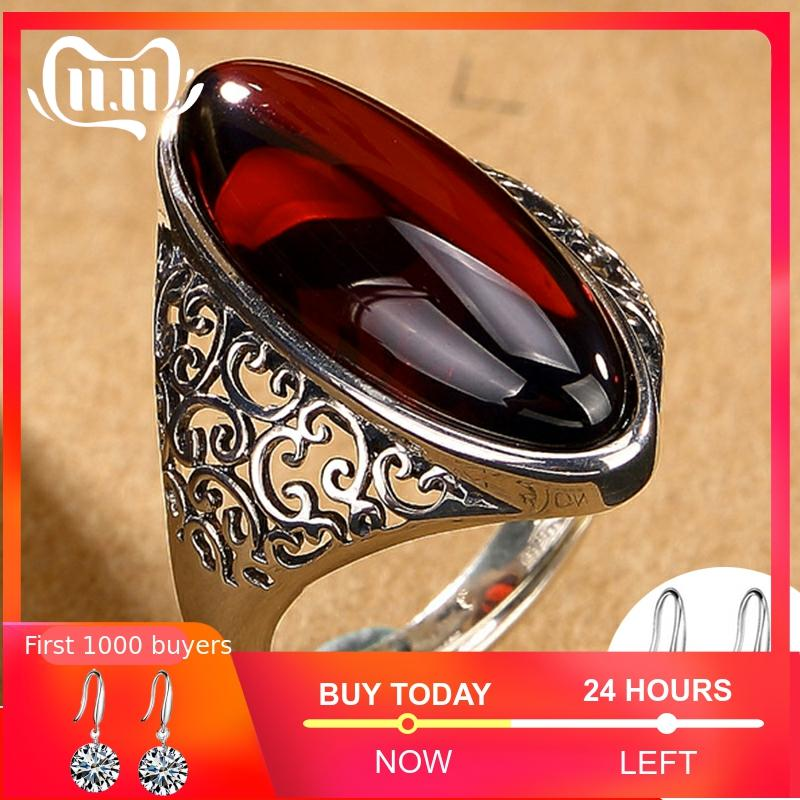 NOT FAKE S925 Fine Antique Shop Ruby Rings Women Handmade Vintage Natural Marquise Big Stone Retro   Ruby Red Jasper Agate