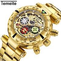 Temeite nova marca dos homens relógios de pulso quartzo multifunções aço inoxidável homem relógios à prova dwaterproof água luxo ouro cronógrafo criativo