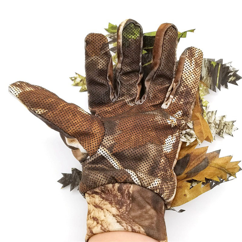 47 Outdoor Hunting <font><b>Gloves</b></font> 3D Leaves Full Finger Breathable Handwear For <font><b>Photography</b></font> Anti-slip Windproof Sports <font><b>Gloves</b></font> * image