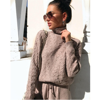 Autumn Winter Knitted Turtleneck Tracksuit For Women Casual Knitted Trousers+Turtleneck Sweater Women's Suit Warm Female Tracks turtleneck husky turtleneck