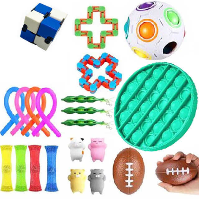 Toy Fidget-Toys Pack Stress Adult Autism for Kid 19pcs-Set Box Zabawki Antysresowe
