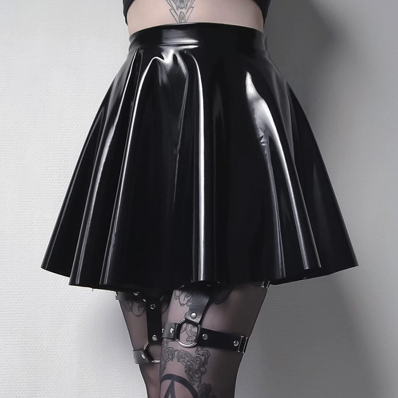 Gothic Black Ladies Skirt Harajuku Korean PU Leather A-Line Skirts Women Casual High Waist Zipper Solid Female Mini Skirt