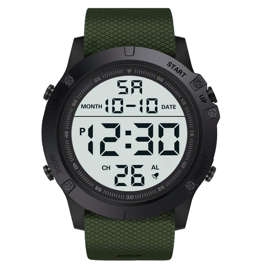 HONHX Men's Digital Watch Waterproof TPU Flexible Strap Electronic Watches Reloj Deportivo Hombre Big Screen Cold Light Display