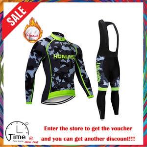 Image 1 - Velo de inverno ciclismo conjunto 2020 manga longa mountain bike roupas wear maillot ropa ciclismo secagem rápida corrida roupas