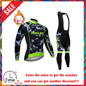 Image 1 - winter fleece cycling set 2020 Long Sleeve Mountain Bike Clothes Wear Maillot Ropa Ciclismo Quick Dry Racing Bicycle Clothing