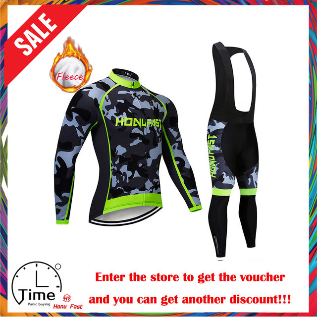 winter fleece cycling set 2020 Long Sleeve Mountain Bike Clothes Wear Maillot Ropa Ciclismo Quick Dry Racing Bicycle Clothing