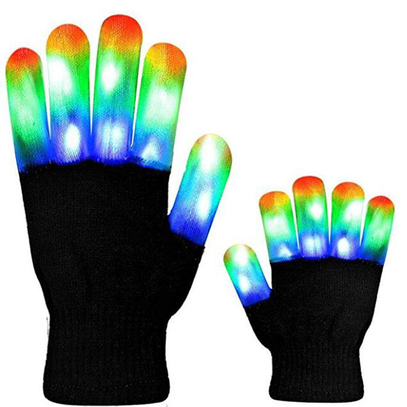 LED Luminous Gloves Stage Gloves For Performance Colorful Clothing Props Bright LED Shining Halloween Christmas Product