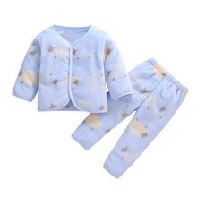 Newborn Baby Girl Boy pajamas for Winter Fleece long sleeve Thick Warm Tops Pants Set baby pajamas Sleepwear new born Clothes(China)