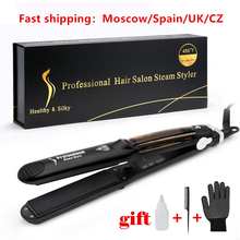 Hair-Straightener Vapor Infusion Flat-Iron-Tourmaline Ceramic Argan-Oil Steam-Function
