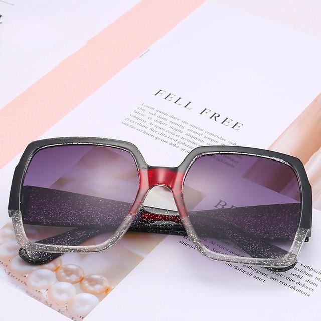 Vintage Square Sunglasses Women Big Frame Sun Glasses Fashion Gradient lens Personality Splice Colour Frame Eyewear