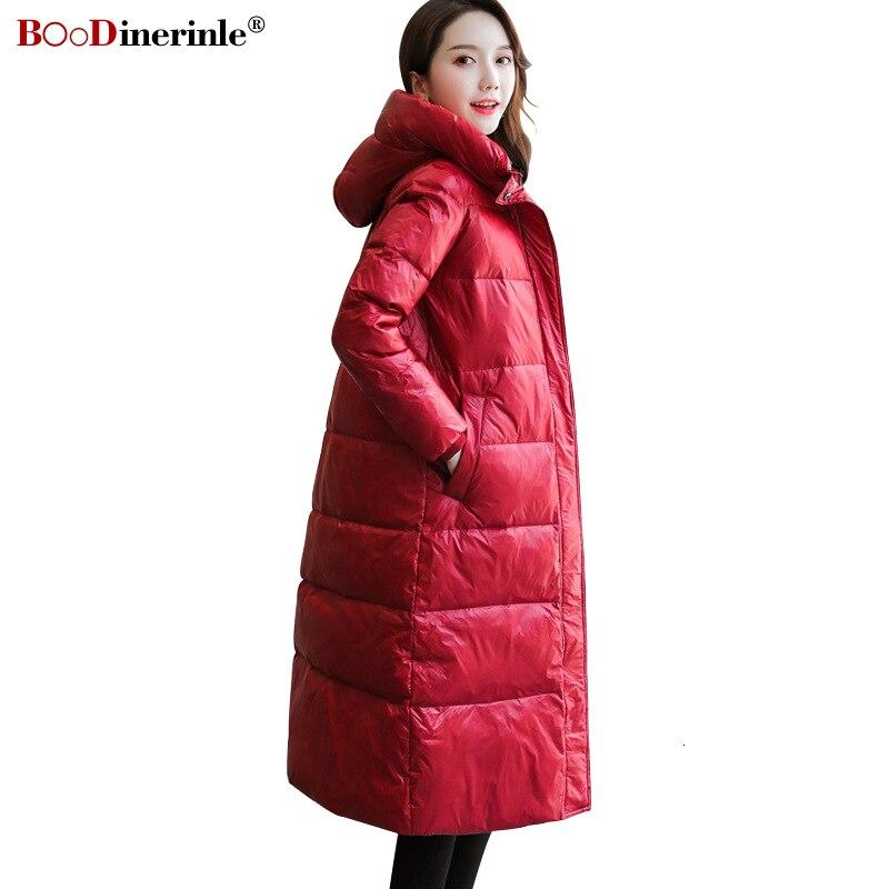 BOoDinerinle Women's   Down   Jacket Women Parkas Windproof Hooded White   Down     Coat   Thicken Long Balck Glossy Bright Silm Winter   Coat