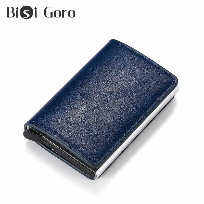 Bisi Goro Aluminium Doos Credit Kaarthouder Voor Mannen En Vrouwen Nieuwe Slim Mini Portemonnee Beveiliging Rfid Houder Pop-up Clutch Card Case