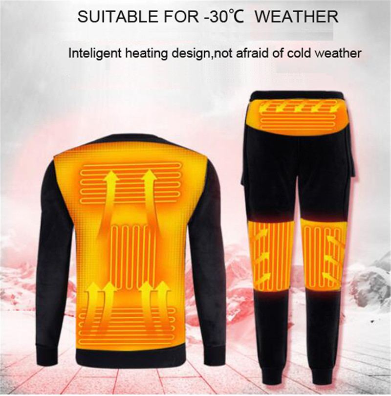 NEW Winter Heating Underwear Set Powered Ski Wear USB Electric Heated Fleece Thermal Long Johns Tops&Pants