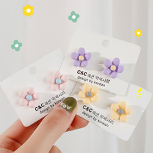 sweet color s305 Korean Cute Candy Color Flower Stud Earrings for Women Girls Sweet Contrast Color Resin Statement Earrings Party Holiday Jewelry