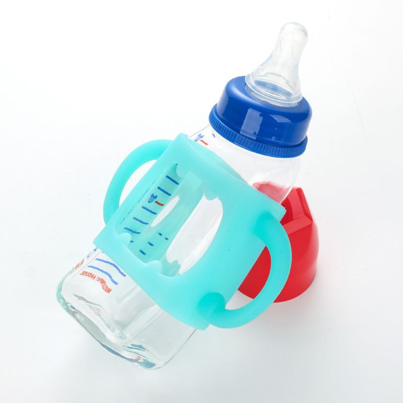 Baby Bottle Handle Soft Wide Silicone Mouth Grip Heat Resistant Feeding Bottles