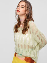 ZAFUL Summer Fall Women Mesh Knitted Sexy Sweaters Drop Shoulder Ripped Pullover Woman Beach Female Tops Loose Knitwear Cover Up
