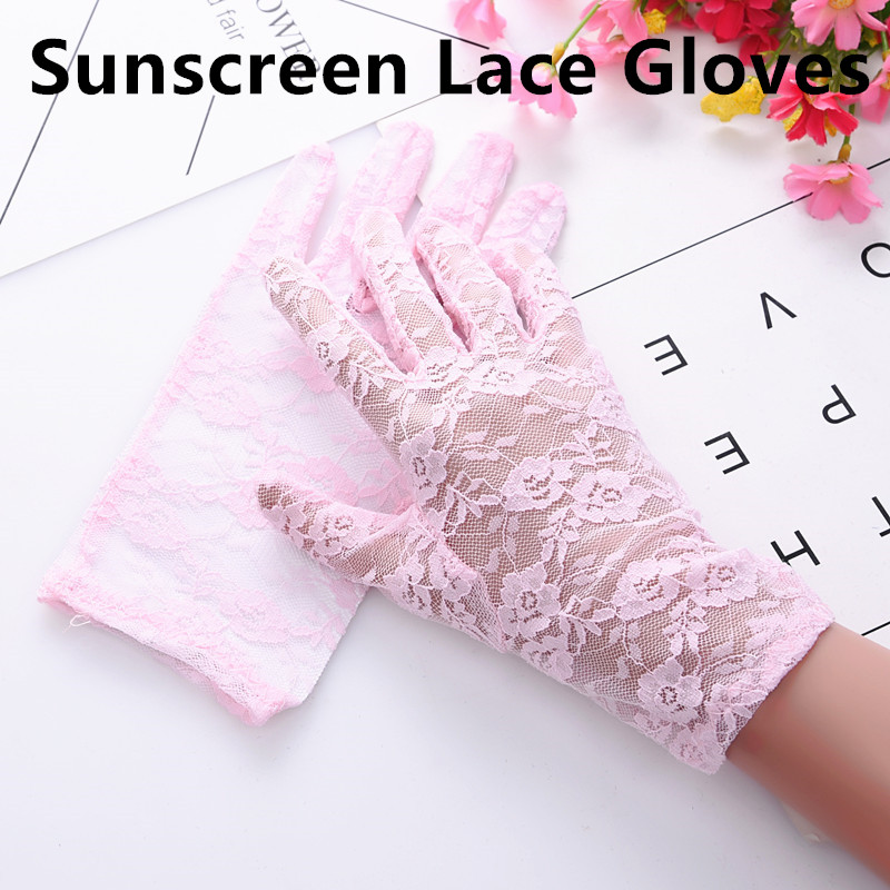 1Pair Fashion Lace Gloves Party Sexy Dressy Gloves Women Lady Lace Mittens Accessories Sunscreen Summer Full Finger Gloves