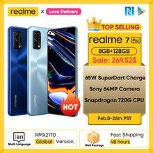 Realme 7 Pro wersja globalna Smartphone 65W szybkie ładowanie linii papilarnych odblokuj pełnoekranowy telefon komórkowy Snapgragon 720G gra telefon komórkowy