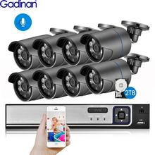Gadinan 8CH 5MP HDMI POE NVR Kit CCTV Security System IR Outdoor Audio Record 3MP IP Camera P2P Video Surveillance Set 2TB HDD