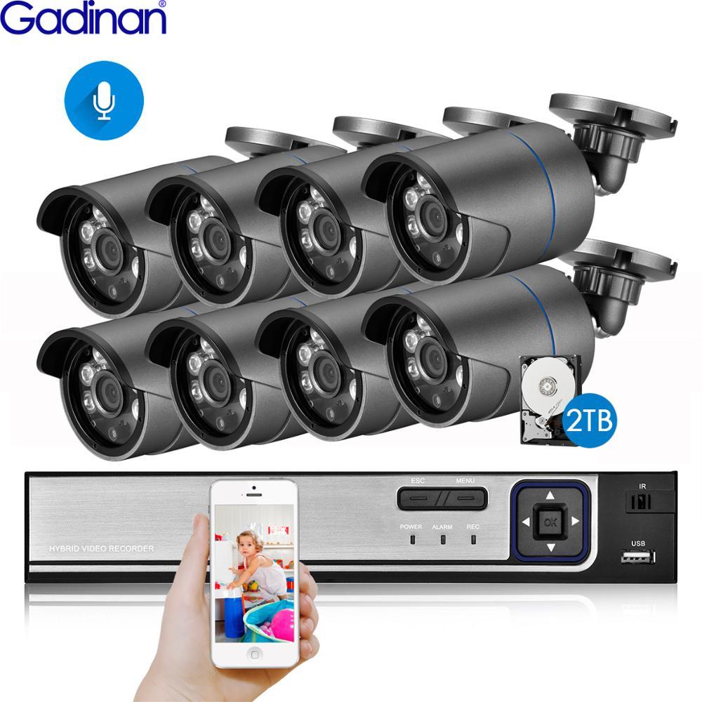 Gadinan 8ch 4mp hdmi poe nvr kit cctv sistema de segurança 4mp ir ao ar livre gravação de áudio câmera ip p2p vídeo vigilância conjunto 2 tb hdd