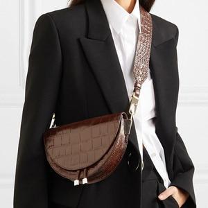 Image 4 - Femmes sac à bandoulière mode Crocodile demi cercle sacs de selle en cuir PU sacs à bandoulière pour femme sacs à main concepteur bolsas