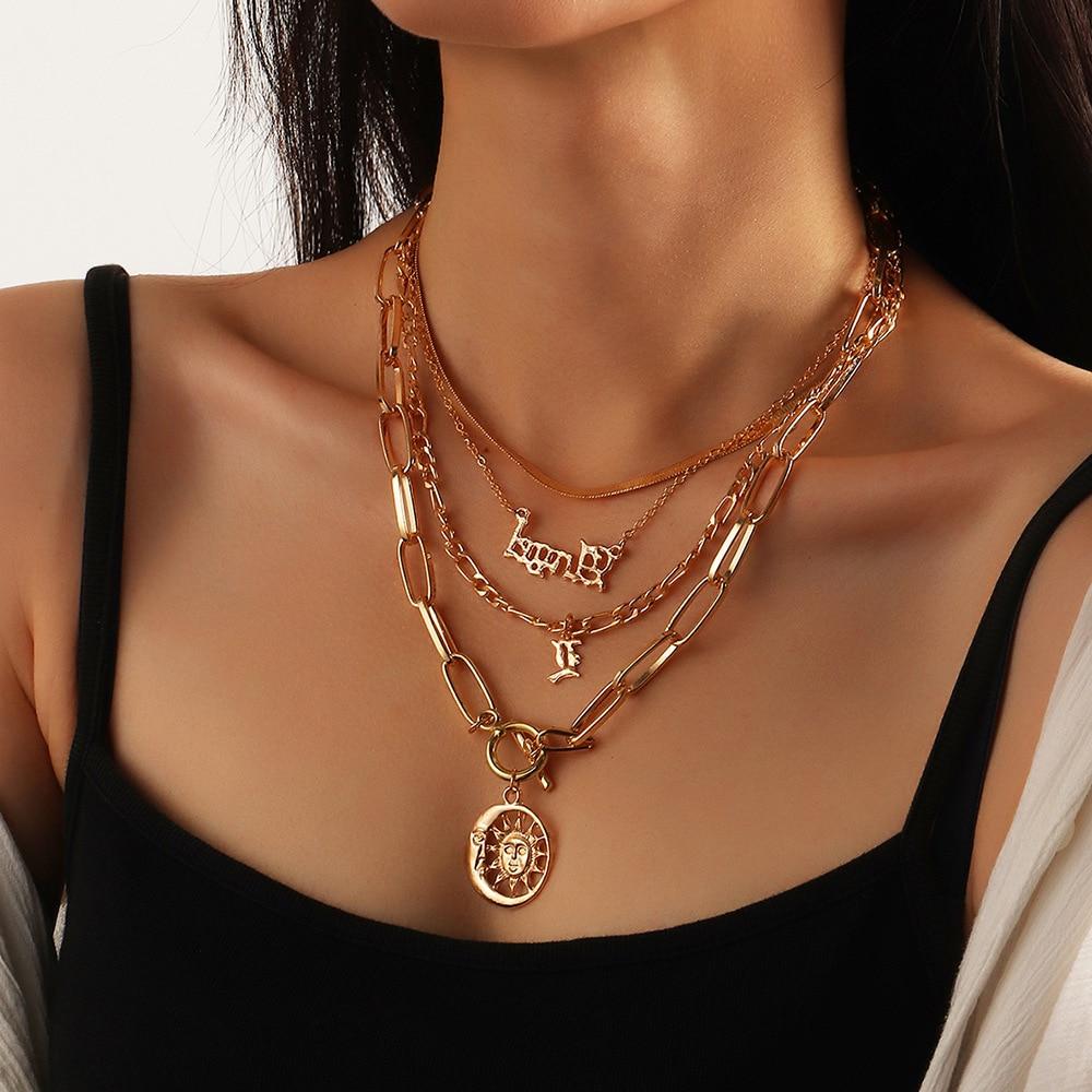 Винтажное многослойное ожерелье с подвеской в виде букв ангела в стиле панк, женское ожерелье золотого цвета с подвеской в виде солнца, ювел...