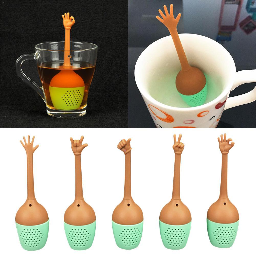 מחווה יד אות בצורת סיליקון פרפר בצורת תה Infuser מסננת תה מסנן תה כדור מטבח כלים