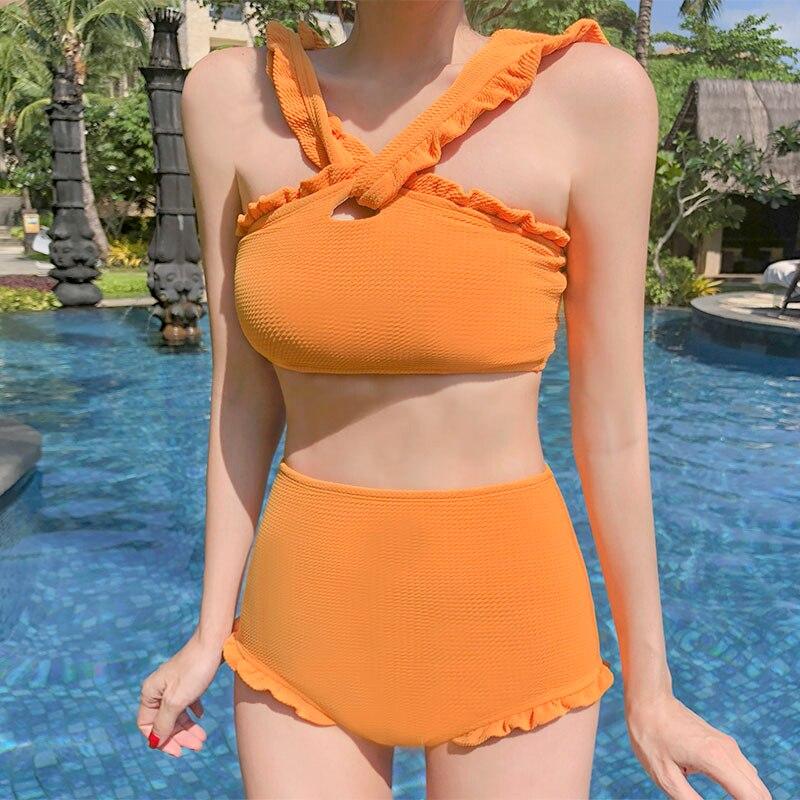 Swimwear Women Bikini 2019 Mujer High Waist Swimsuits Ruffles Bikinis Swimming Suit For Womens