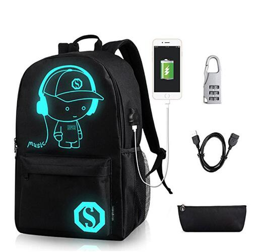 Student School Backpack Anime Luminous USB Charge Schoolbag Laptop Backpack For Teenager Boys School Bag Bagpack