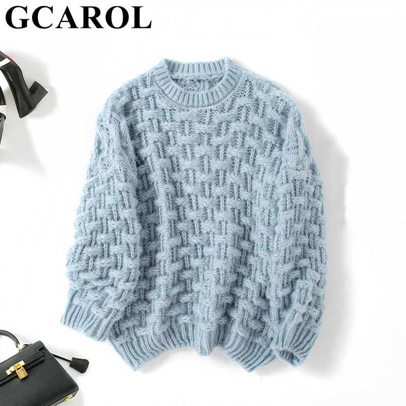 GCAROL New Women Mohair Sweater Drop Shoulder Oversize Coarse Crochet Jumper Fall Winter Warm Short Knitted Pullover