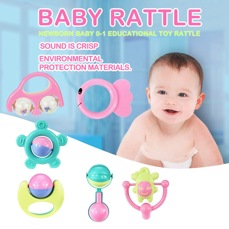 6 Sets Of Baby Teether Rattle Baby Rattle Newborn Baby 0-1 Educational Toys Rattle Suit Combination