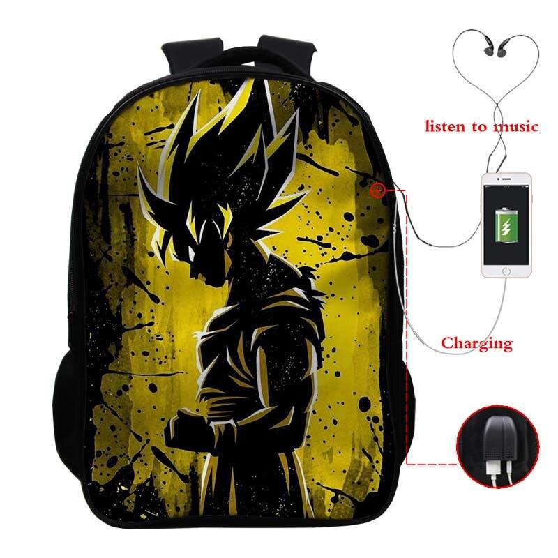 Dragon Ball Usb Carica Zaino Goku Bookbag Zaino Unisex  5