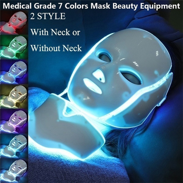 Led Facial Mask 7 Colors Korean Photon Therapy Face Mask Light Therapy Wrinkle Acne Removal Skin Rejuvenation Neck Beauty Mask 5