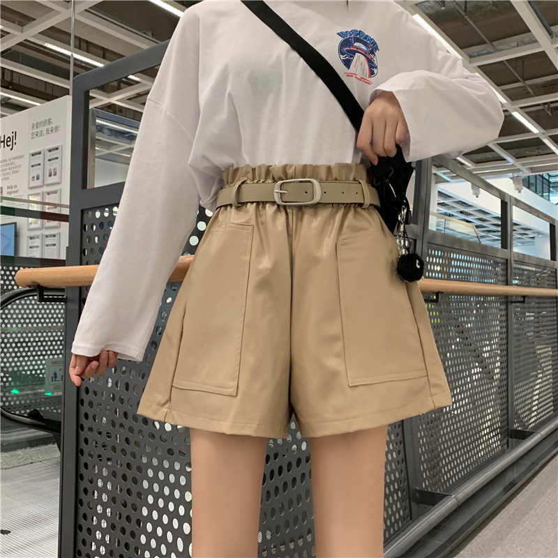 High Waist Loose PU Leather Shorts Women England Style Sashes Wide Leg Short Ladies Sexy Leather Shorts Autumn Winter Shorts
